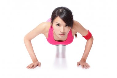 Young sport Woman Doing Push Up