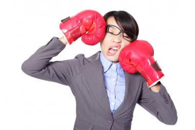 business woman boxing and knock down