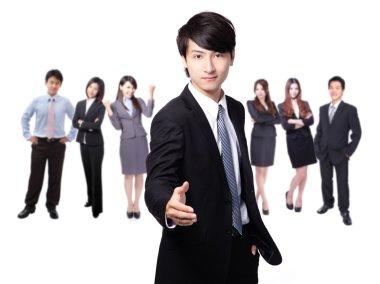 Handsome business man smile shake hand