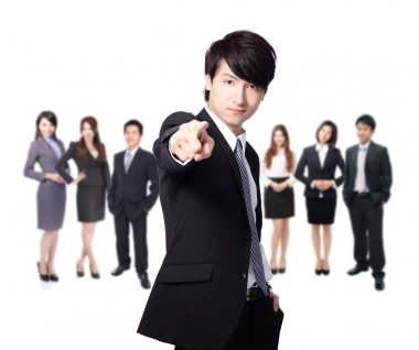 business man finger pointing at you