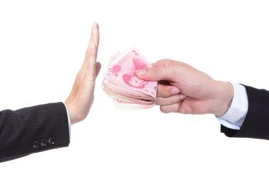 Business man refusing money