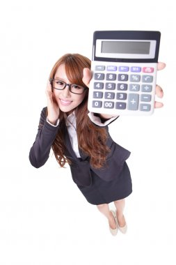 Happy smiling business woman holding calculator
