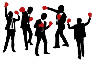 Silhouettes of Businessmen wearing boxing gloves