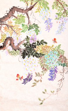 Chinese painting of flowers and butterfly