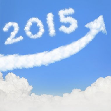 Clouds new year 2015 in blue sky
