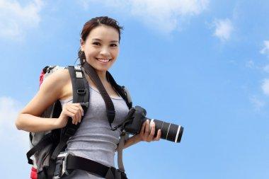 Young woman mountain hiker