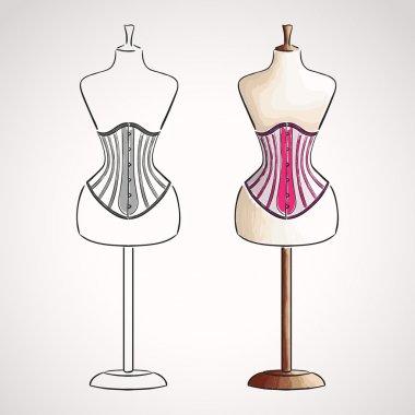 Hand drawn corset on maneqiun