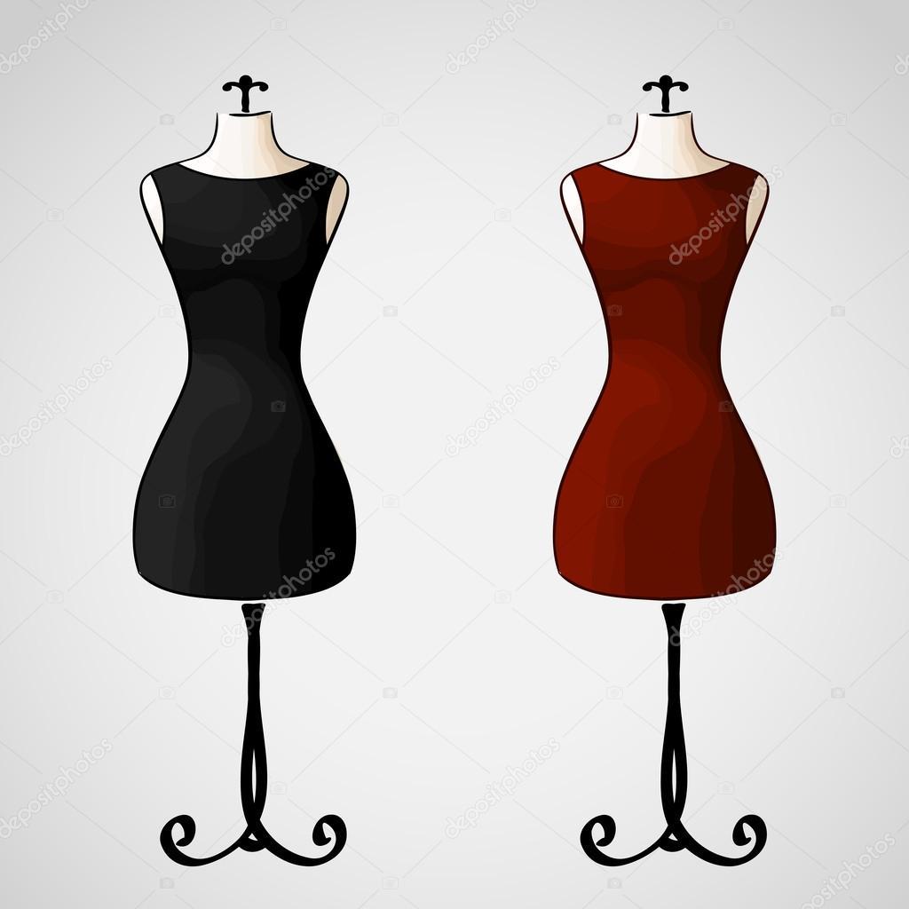 b9aad85a585b10 Hand getrokken vector - elegante klassieke kleine zwarte en rode jurken —  Vector van werta.w