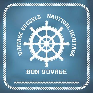 Sailing badge with ship wheel