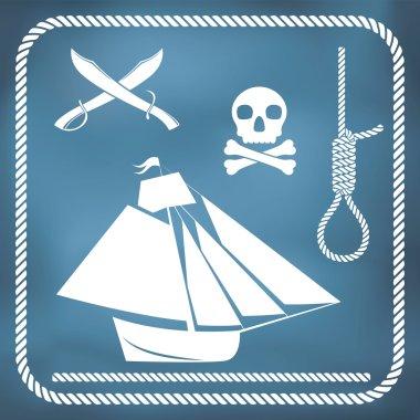 Pirate icons - sloop, cutlass, hangman's knot