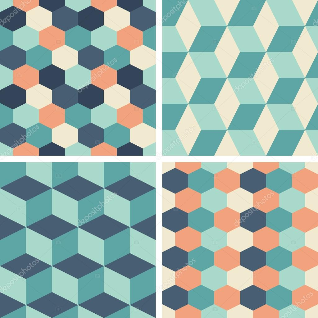 Vector seamless tiling patterns - geometric — Stock Vector © werta.w ...