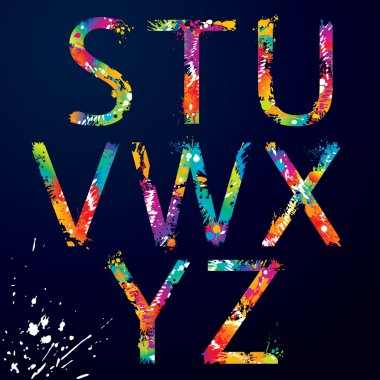 Font - Colorful letters with drops and splashes from S to Z