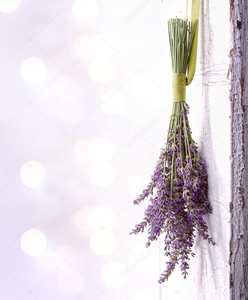 Lavender hanging from an old door