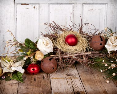 Christmas ornaments on wooden background