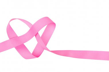 Pink ribbon in heart shape isolated