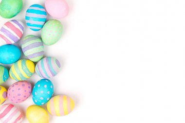 Easter eggs painted in pastel colors on a white background stock vector