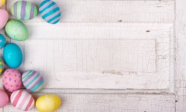 Easter eggs on a cracked antique background