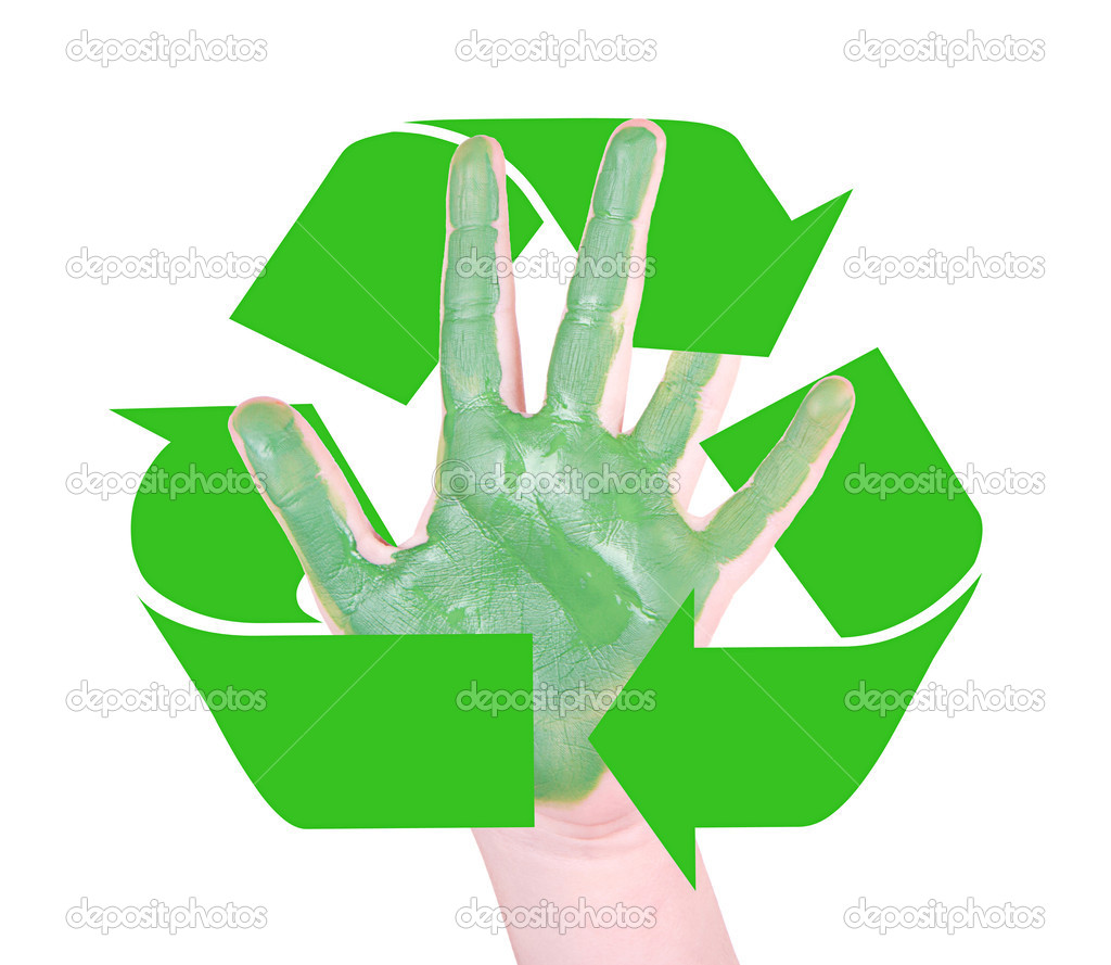 Green Hands With The Recycle Symbol Stock Photo Sjhuls 24796907