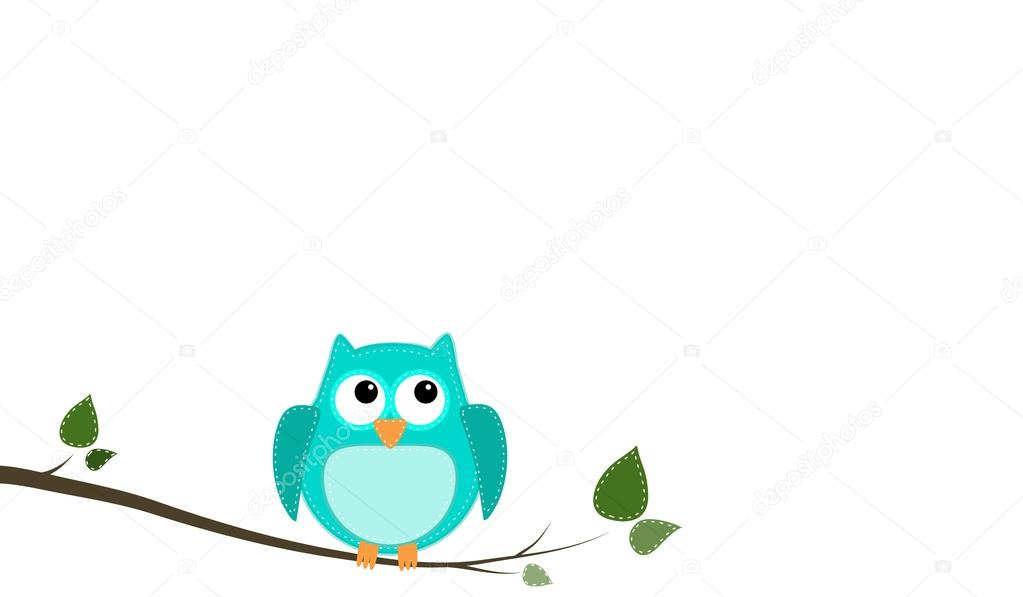 Blue Stitched Owl Sitting On A Branch Stock Vector C Sjhuls