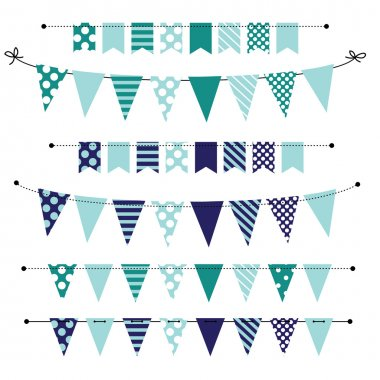 Blue blank banner, bunting or swag templates for scrapbooking  parties, spring, Easter, baby showers and sales, on transparent background, in vector format stock vector