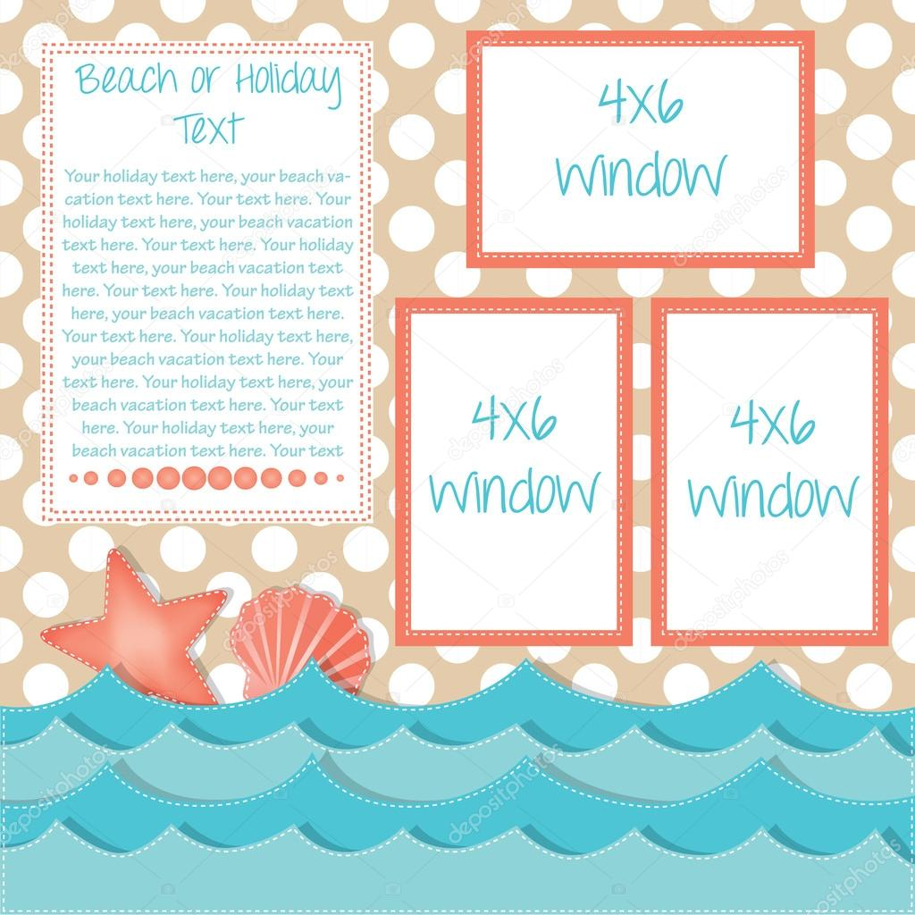 Beach and ocean layout with starfish and shells