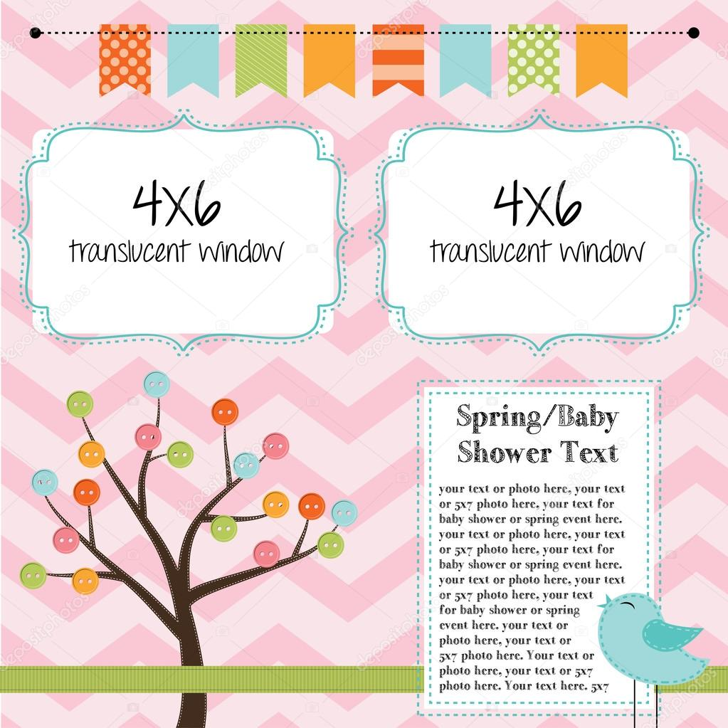 Spring, baby shower, or summer layout with trees, birds