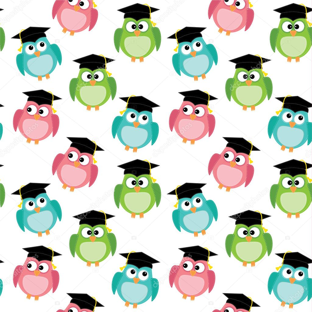 Buhos con graduación gorras de patrones sin fisuras — Archivo ...