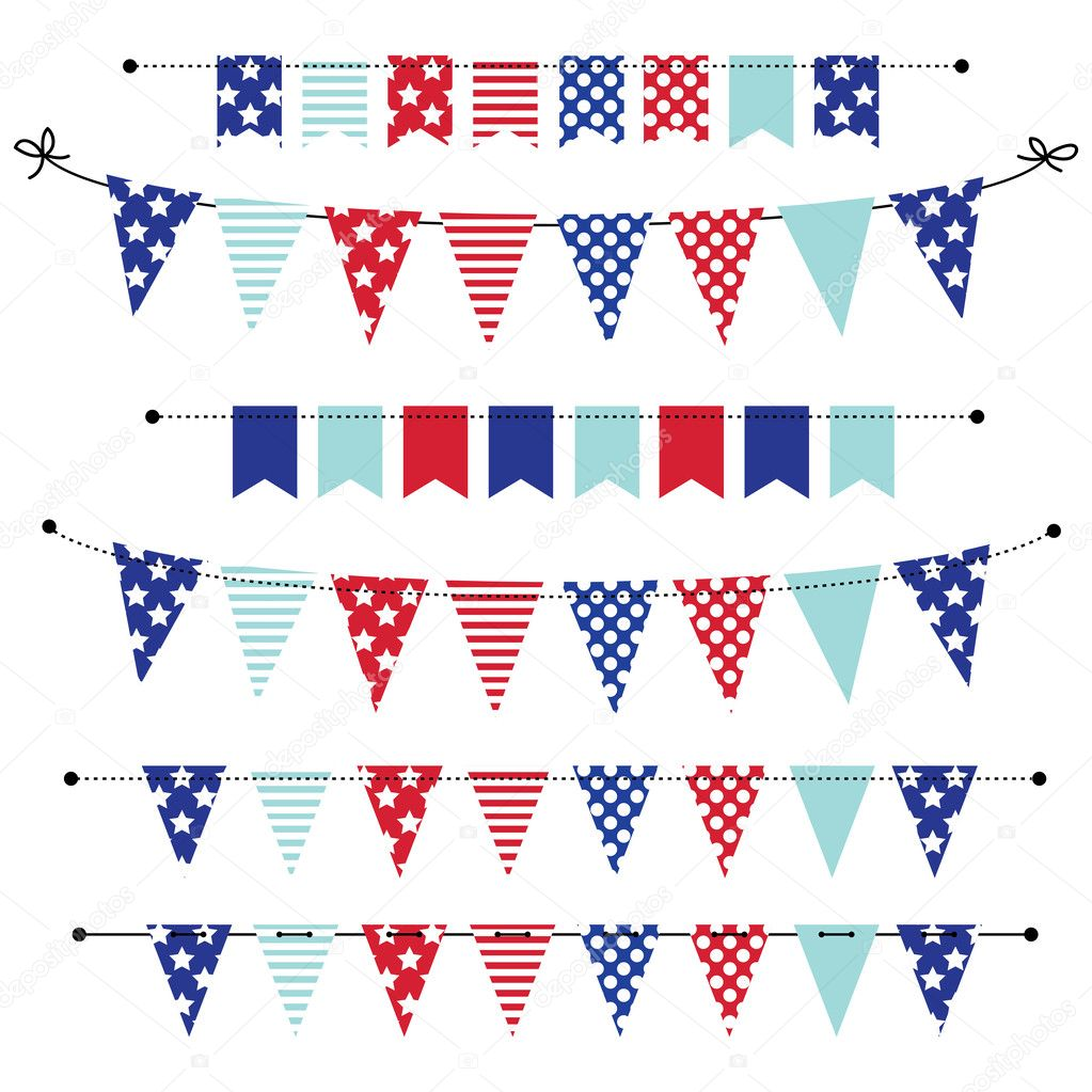 banner bunting or flags in red white and blue patriotic colors stock vector sjhuls 46657017. Black Bedroom Furniture Sets. Home Design Ideas