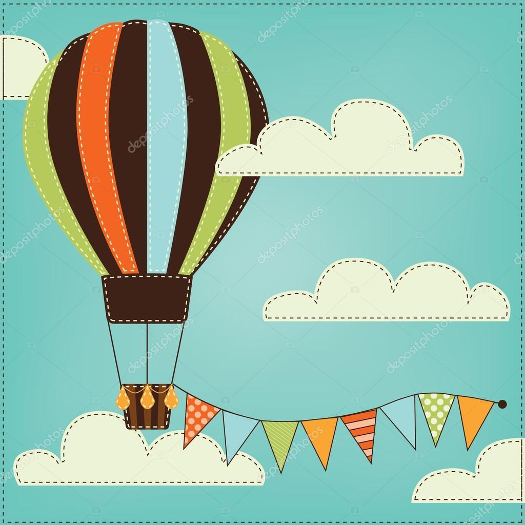 globo de aire caliente vintage o retro en el cielo con nubes ...
