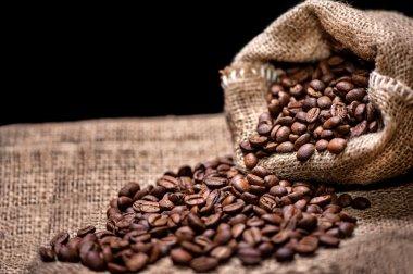 Aromatic fresh coffee beans in vintage packaging