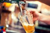 Fényképek közeli kép a csapos kezét a sör érintse meg, ömlött a csapolt világos sör