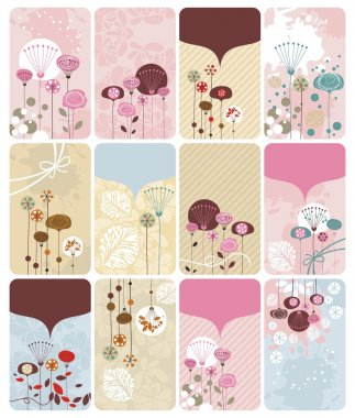 Seasonal gift cards backgrounds set with spaces for text stock vector