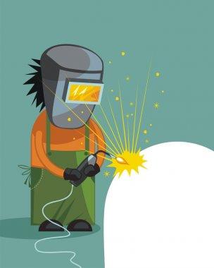 Cartoon of a welder