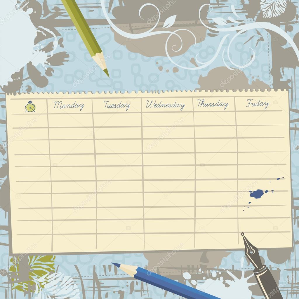 Schule Stundenplan Vorlage und Hintergrund — Stockvektor © Yurumi ...
