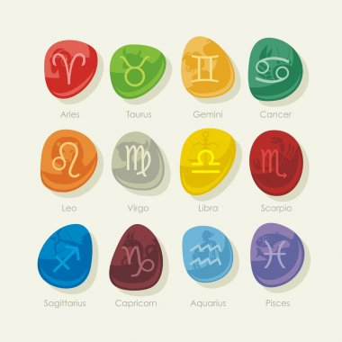 Stones set with zodiac signs