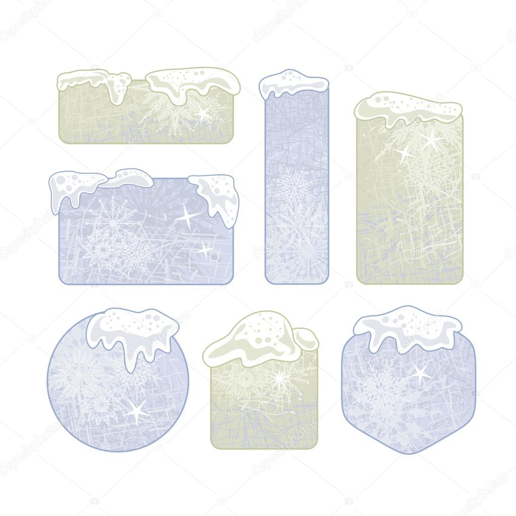 winter frames or banners collection sheet with snowy tops vector by yurumi - Winter Frames