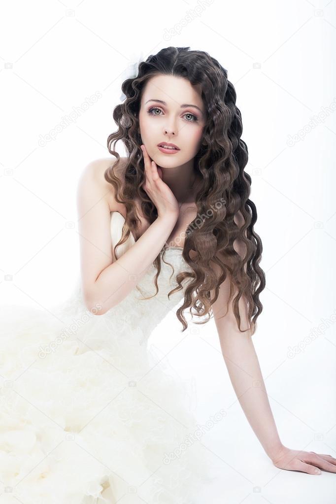 Hochzeit Stil Portrait Der Schonen Frau Braut Lockiges Haar