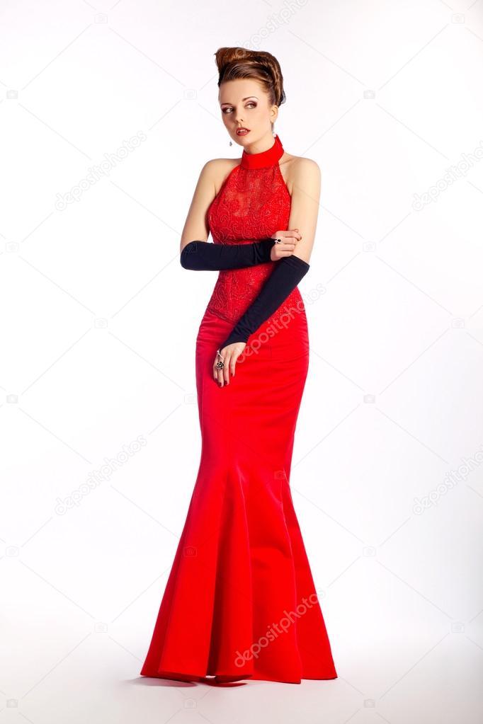 Hochzeit Elegante Braut Moderne Braut Rotes Kleid Schwarze