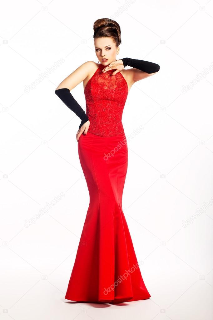 Schönheit Voile in rot lange Hochzeit-Kleidung und Mode-Handschuhe ...