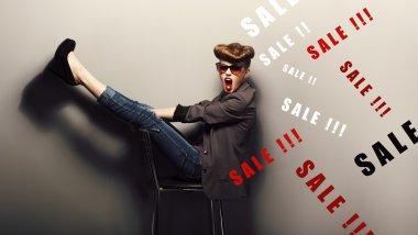 Happy delightful shopper - eve xmas sales concept. Fantasy