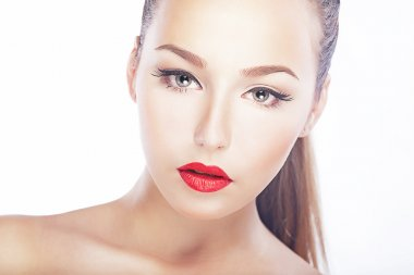 Beauty - fresh woman face - red lips, natural clean healthy skin