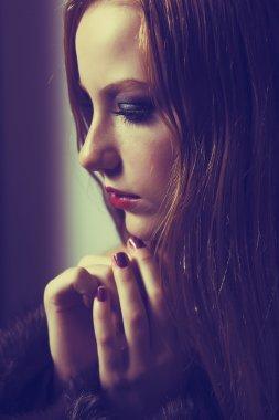 Plea. Confession. Sad Woman Praying. Grace. Sorrow and Hope