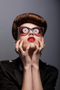 Parody. Portrait of Mimic Woman in Futuristic Sunglasses - Fantasy
