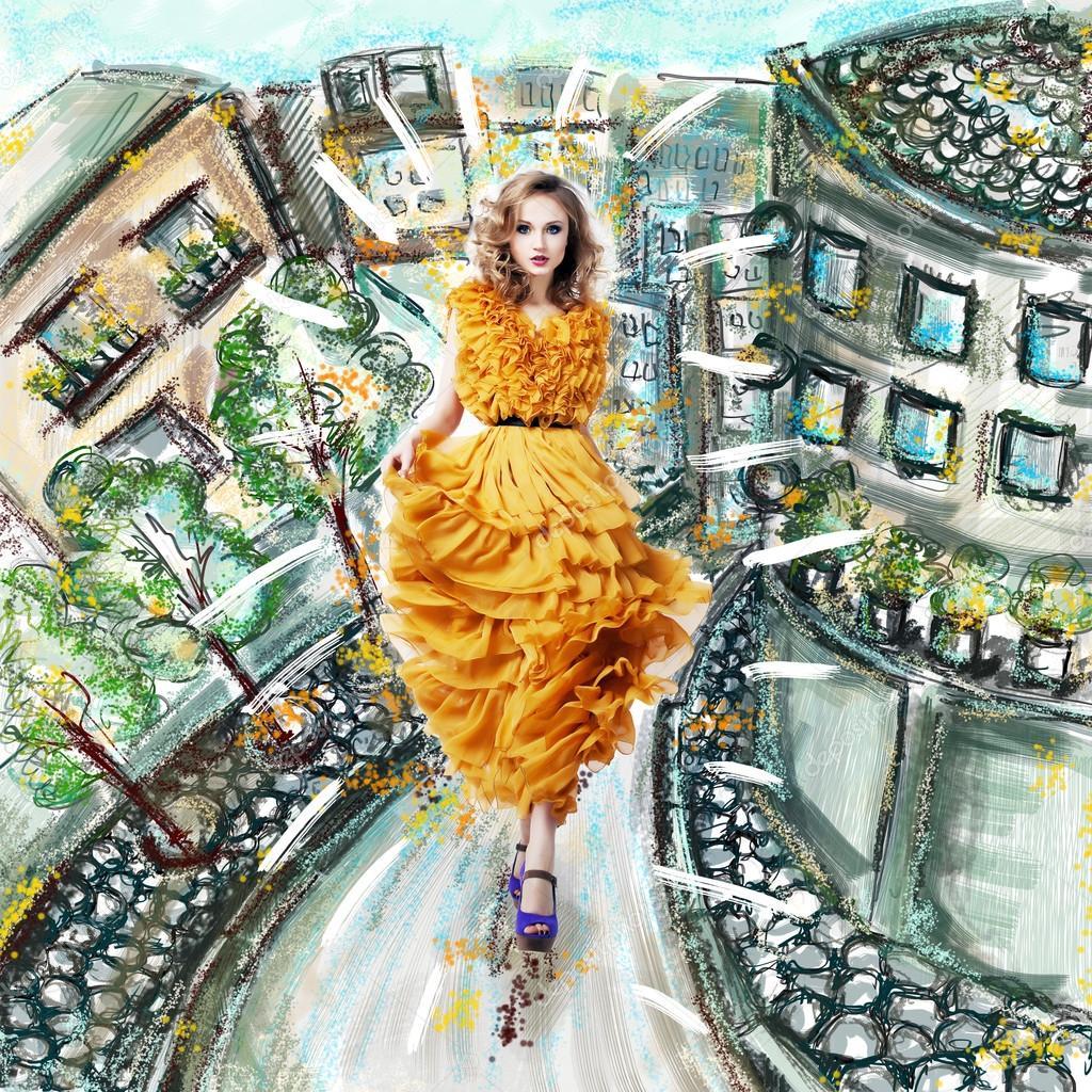 Fantasy. Futuristic Modern Woman in Fashion Dress walking. Urban Scenery Illustration