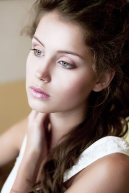 Tenderness. Face of Tranquil Refined Young Woman. Natural Makeup