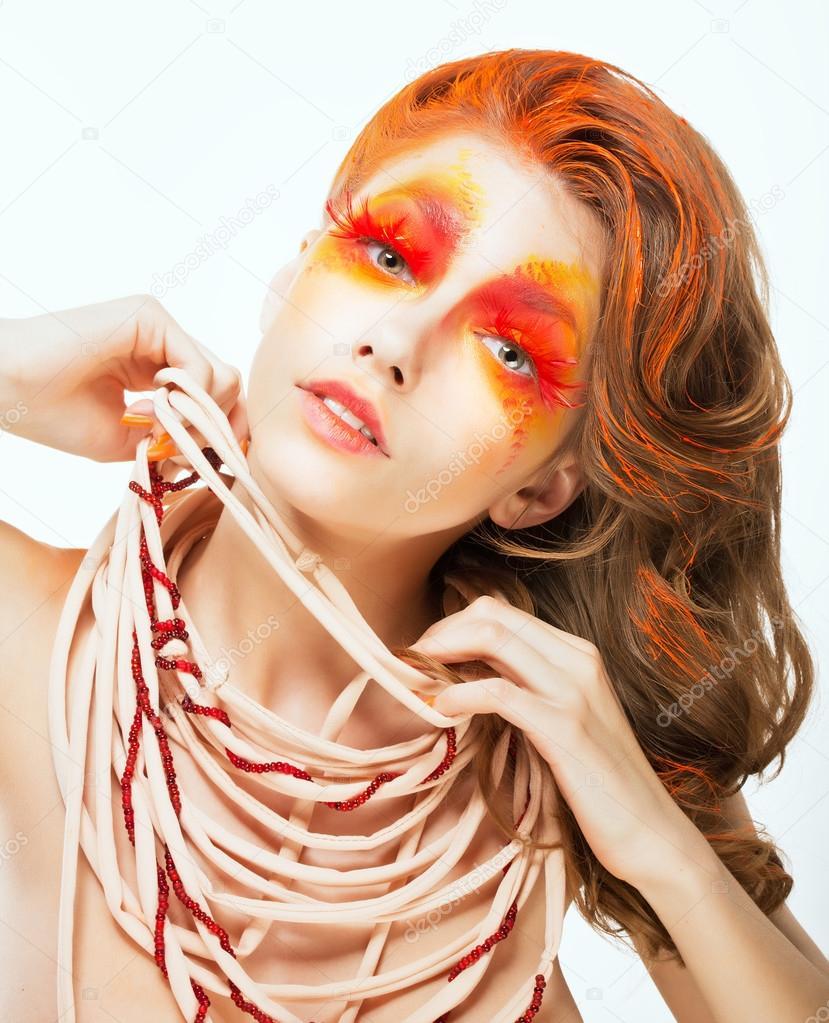 Vyraz Tvar Jasne Cervene Vlasy Umeleckych Zene Koncepce Umeni