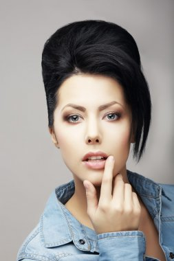 Updo Hair. Authentic Classy Brunette with Trendy Haircut. Attractiveness