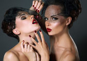 Fotografie Dainty. Two Provocative Women in Veils with Cherry Berries. Temptation