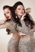 Fotografie Ausstrahlung. Glam. luxuriöse reiche Frauen in grau Kleider mit Strass