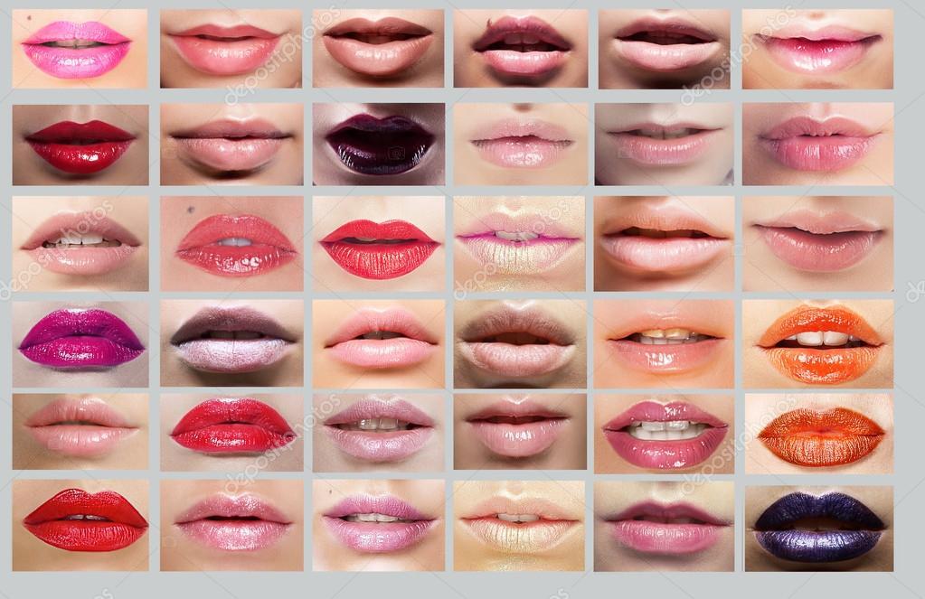 6f0d026b82d Κραγιόν. μεγάλη ποικιλία από χείλη γυναικών. σύνολο πολύχρωμο στόματα–  εικόνα αρχείου
